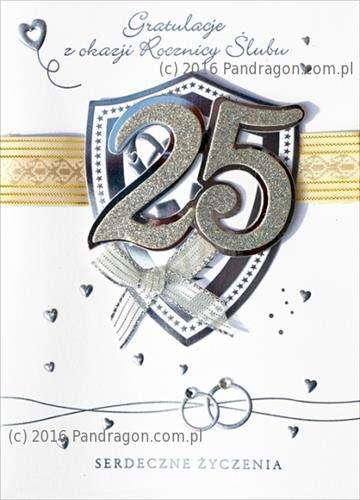 Kartka Z życzeniami 25 Rocznica ślubu 1 Szt Akcesoria