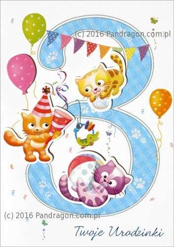 f13223d8f3f6f9 Kartka z życzeniami na 3 Urodziny, 1 szt. | Akcesoria dekoracyjne ...