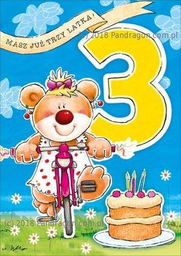 390fa0a6f0b926 Kartka z życzeniami na 3 Urodziny, 1 szt. | | Tytuł sklepu zmienisz ...