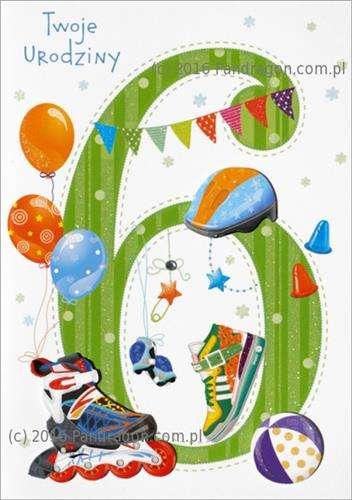 Kartka Z życzeniami Na 6 Urodziny 1 Szt Akcesoria Dekoracyjne