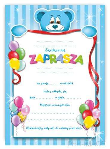 Zaproszenie Na Urodzinki Niebieskie 1 Szt Akcesoria Dekoracyjne